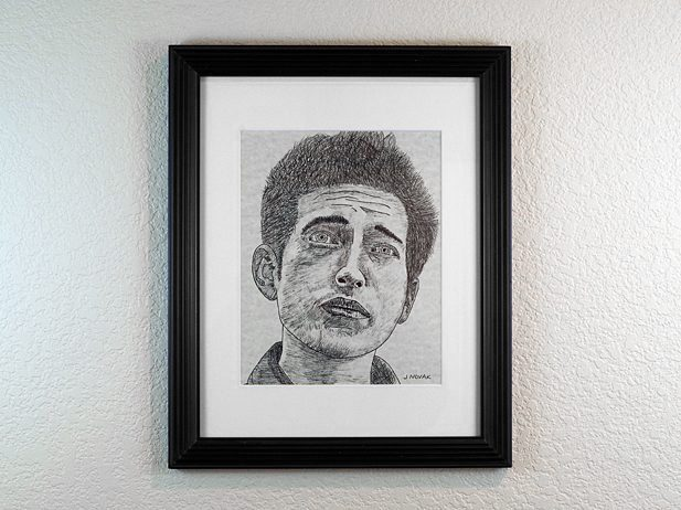 Bob Dylan Portrait Drawing Pen and Ink on Paper in Frame