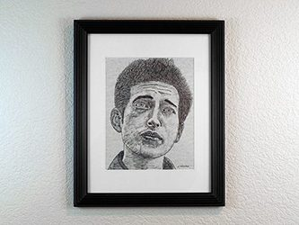 Bob Dylan Portrait Drawing Pen and Ink on Paper