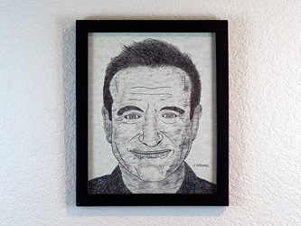 Robin Williams Portrait - Pen and Ink Drawing in Frame