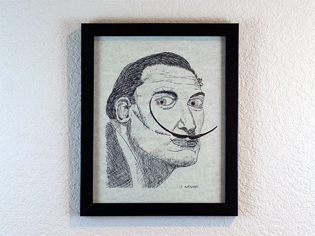 Salvador Dali Portrait - Pen and Ink Drawing in Frame